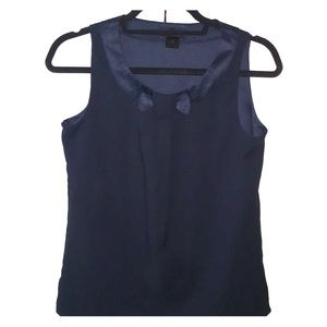 Deep sea blue sleeveless bow tie blouse